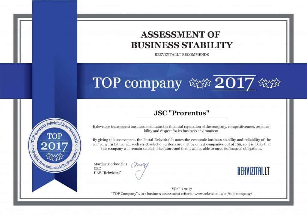Top company 2017 Prorentus