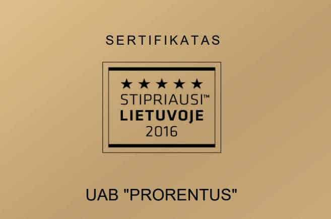 Prorentus Ltd. is one of only 3% strongest companies in Lithuania