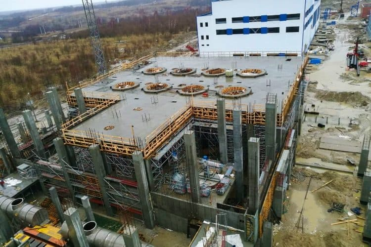 Concrete pouring was completed in industrial factory (Kaliningrad)