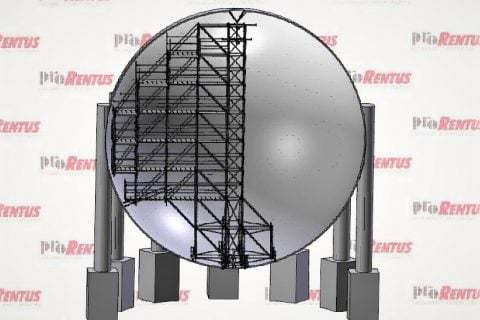 Mobile scaffold for spherical ammonia tank by Prorentus Ltd.
