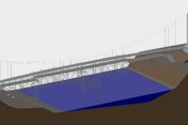 Temporary bridge for installation of new pedestrian bridge over the river